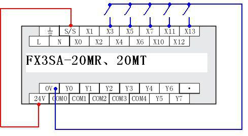 与 fx1s  的输入接线不同   fx3sa 没有 com 端子,和 fx1s 在输入接线