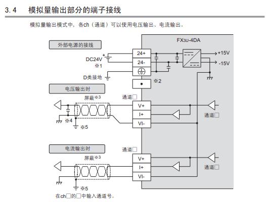 正确 接线 方法如下图所示:     四 :输出模式 三菱 plc模块 fx3u-4da