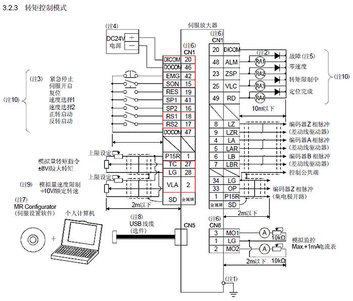 三:附三菱伺服电机mr-j3系列说明书接线图     24小时服务热线:400
